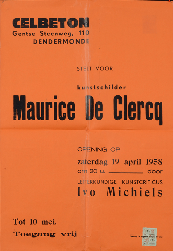 Maurice De Clercq — Poster of the Clebeton exhibit, where this work was purchased.