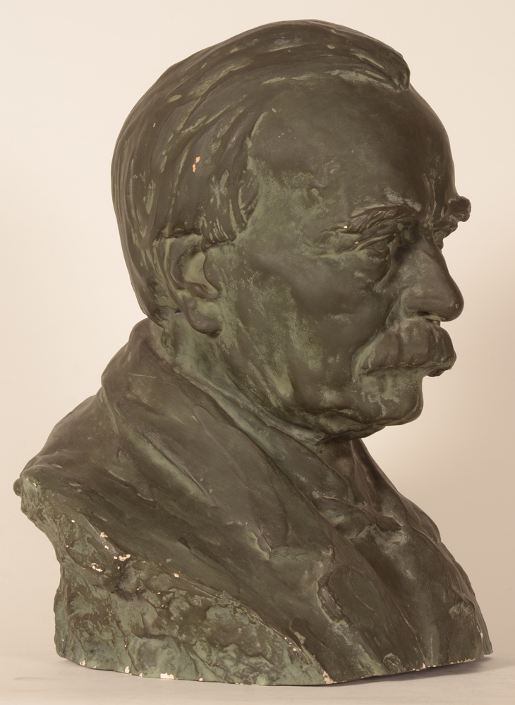 Carl De Cock — Profile to the right of the patinated plaster cast