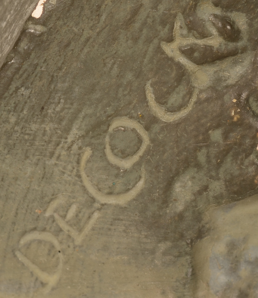 Carl De Cock — Signature of the artist on the side of the sculpture
