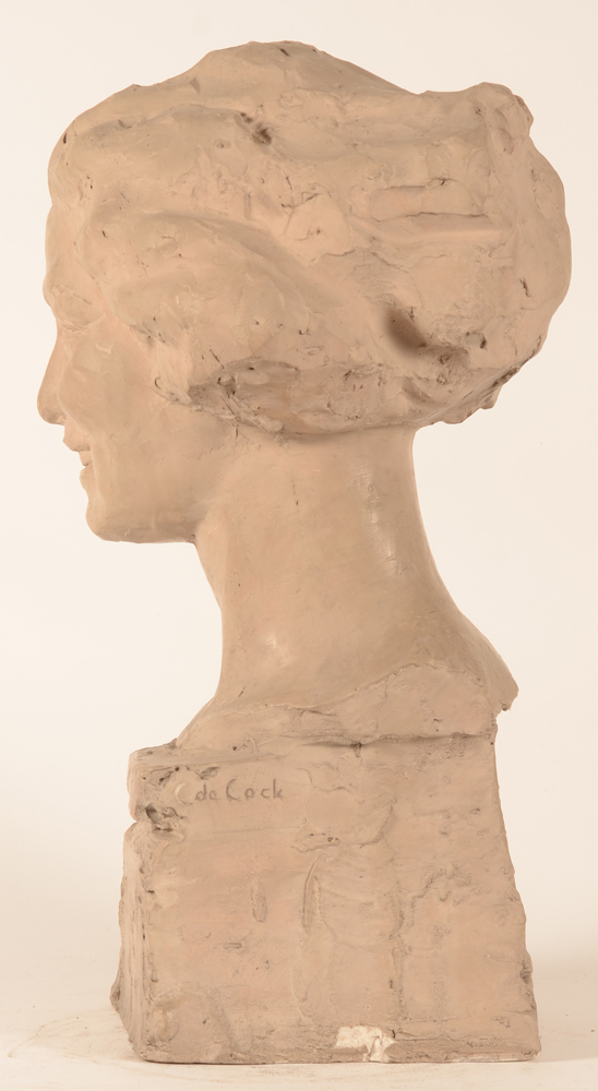 Carl De Cock — Side view, showing the signature of the artist and the small defect to the base