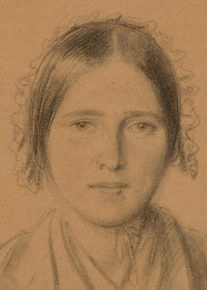 Xavier De Cock portrait of a girl — Detail of the drawing by this Belgian master in drawing