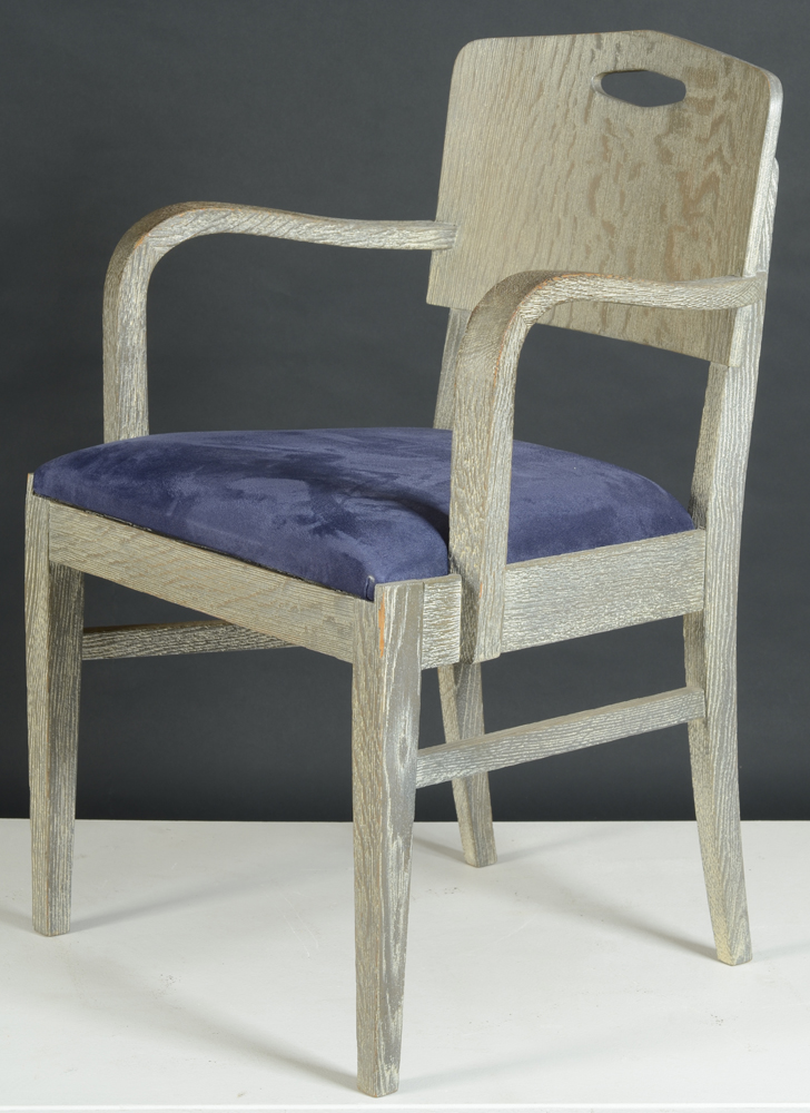 De Coene Freres — One of a set of 8 arm chairs, with two types of upholstery. Marked De Coene, possibly designed by Paul Vandenbulcke.