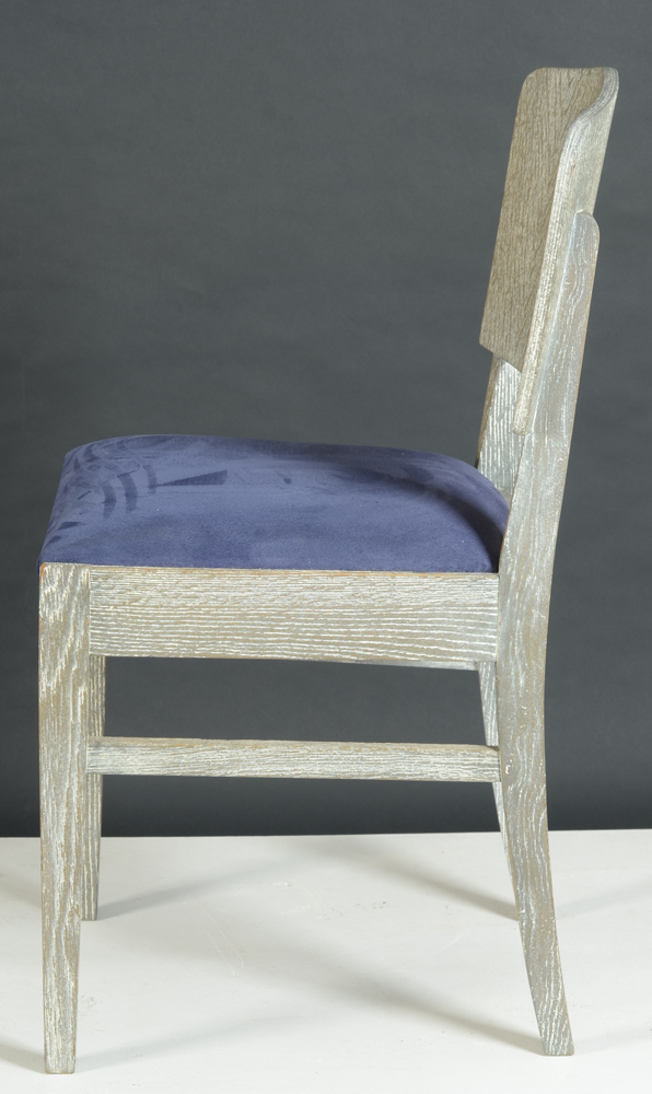 De Coene Freres — Side view of the chair, each chair marked on the bottom of the seat.