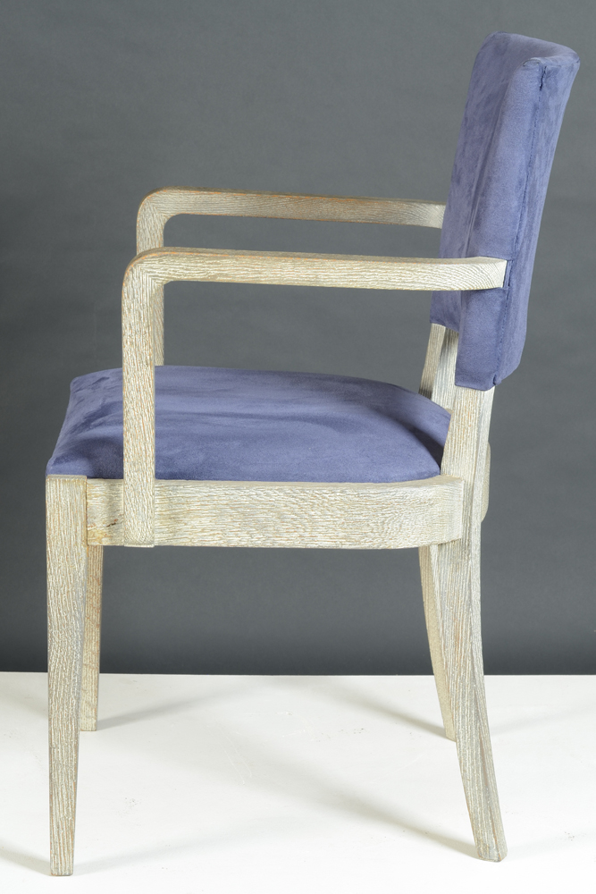 De Coene Freres — Side view of the chair (one of a pair), upholstery redone.