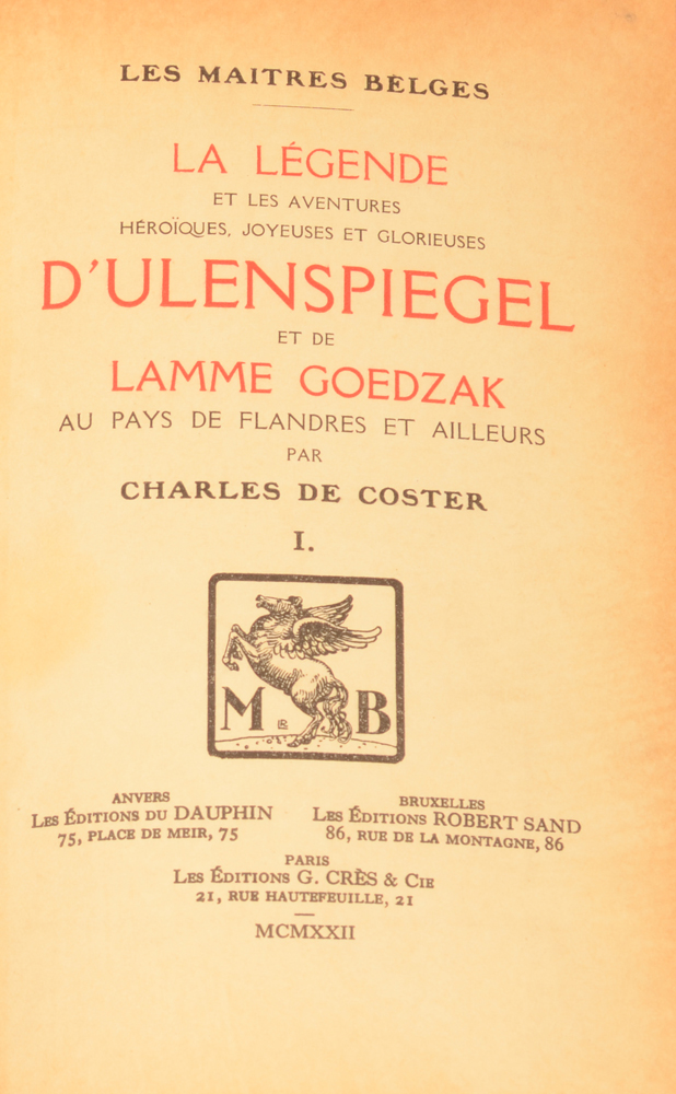 Charles De Coster Ulenspiegel illustrated by Jules De Bruycker — bound cover of the first volume