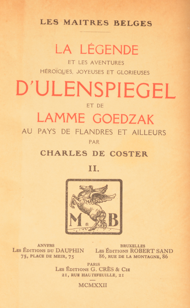 Charles De Coster Ulenspiegel illustrated by Jules De Bruycker — Bound cover of the second volume