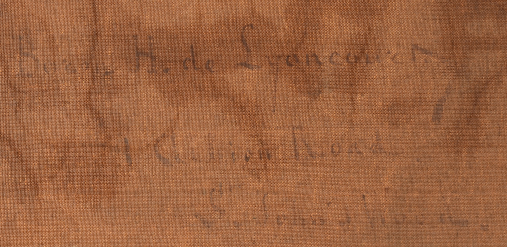 Hubert de Lyoncourt — Signature of the artist and adress of the painter in London
