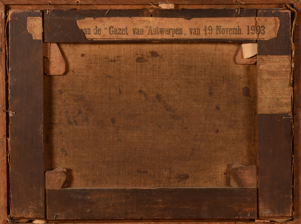 Jos De Mey — Back of the painting, with an original newspaper clipping from 1903