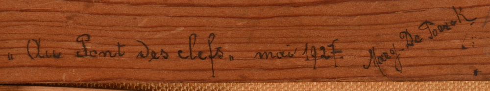Marguerite De Poerck — title, date and signature of the artist at the back of the strecher