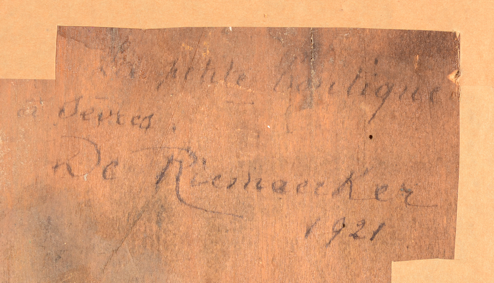 Carl De Riemaecker — Signature of the artist, date and title on the back of the painting