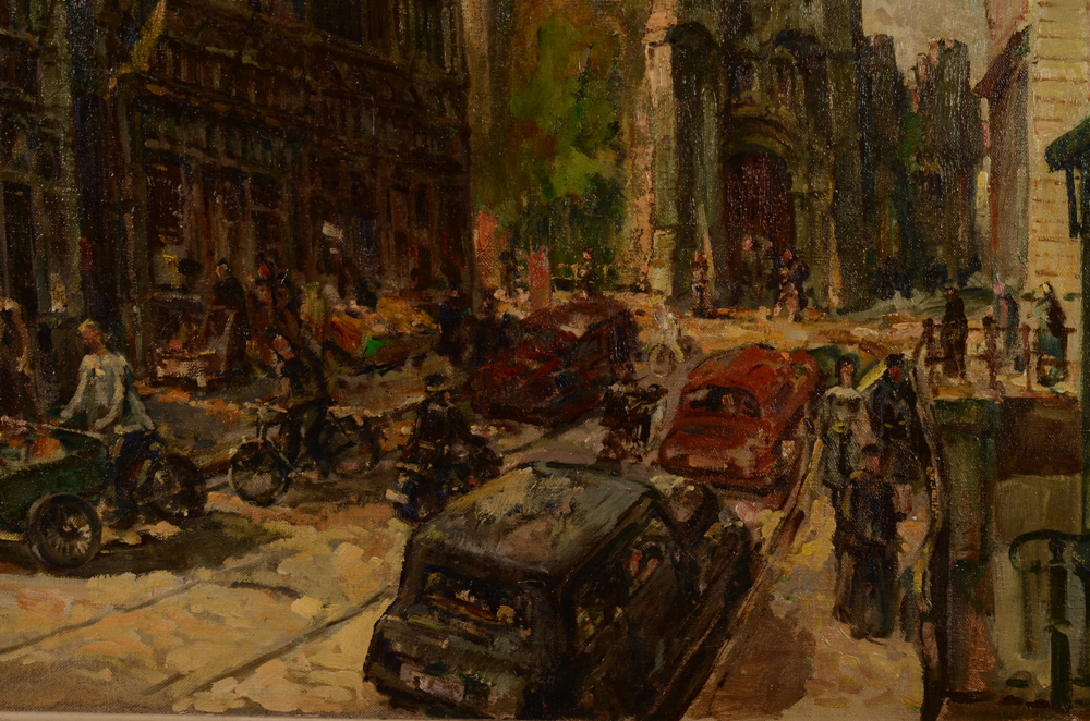 Luc De Rijcke — Detail of the painting with the ghent Castle in the background, and cars (!) in the centre of the painting<br>