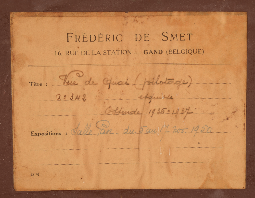 Frédéric De Smet — Label at the back with title, date and exhibition history