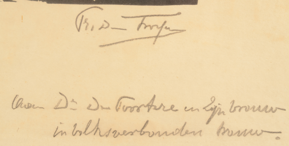 Prosper De Troyer — Signature of the artist and dedication bottom right