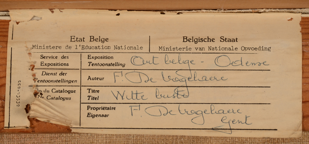 ?Alfons De Vogelaere — Label at the back of the painting, from the museum of Odense