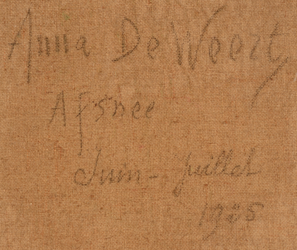 Anna de Weert — Signature, localisation and date at the back of the canvas