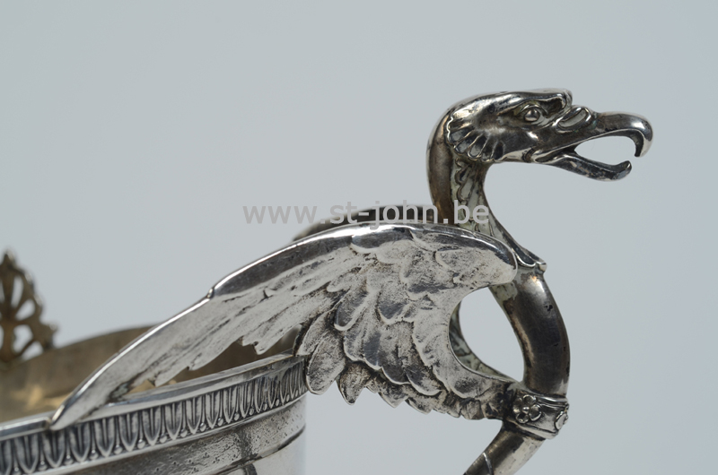 Debaus, silver jardiniere, ca. 1900, detail of the handle.