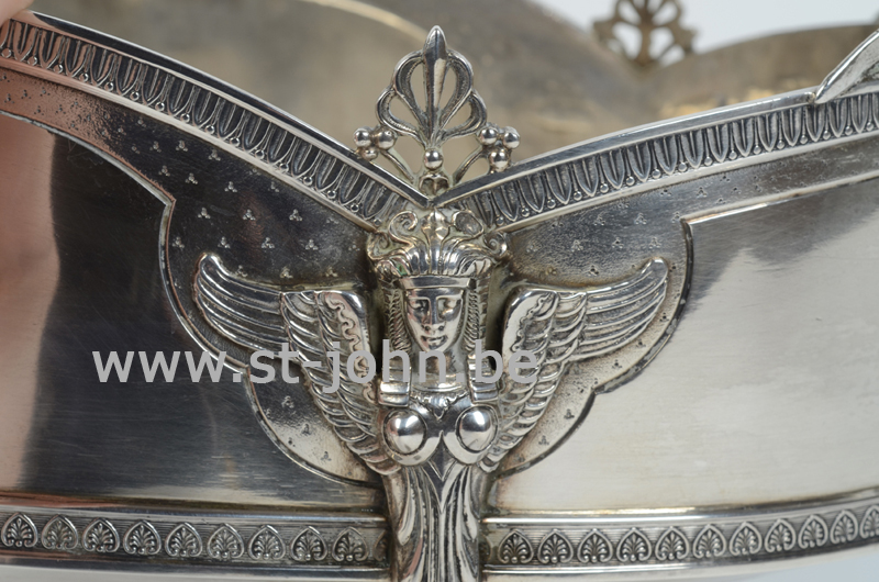 Debaus, silver jardiniere, detail of the Egyptian motif.