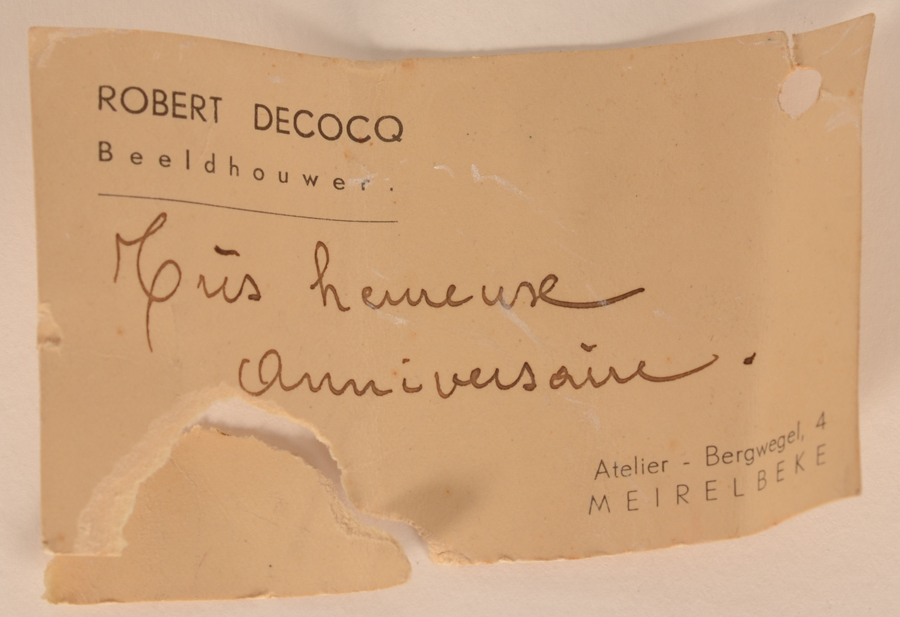 Robert Decocq — Card, found in the inside of the sculpture<br>