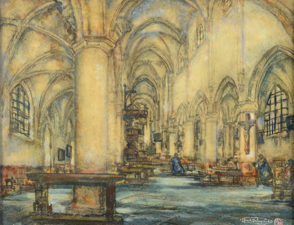 Alfred Delaunois — A view of the Begijnhofkerk in Leuven, probably painted at the same moment as the work in the M-Museum.