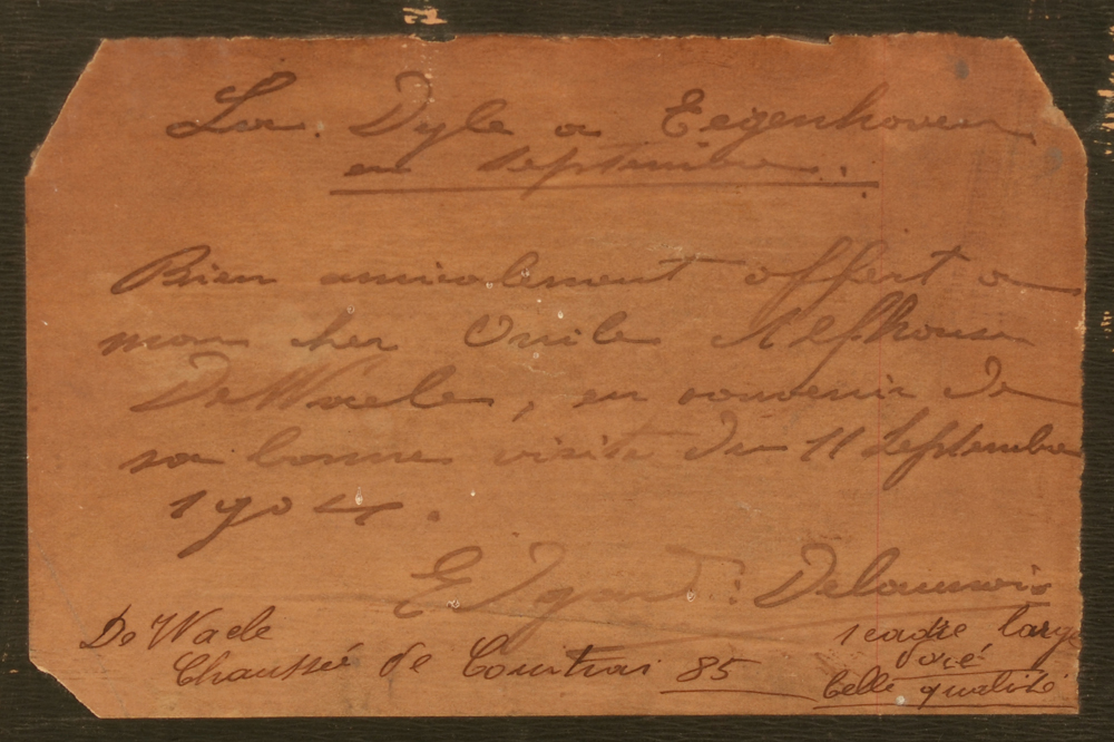 Edgard Delaunois — Handwritten label with dedication by the artist at the back