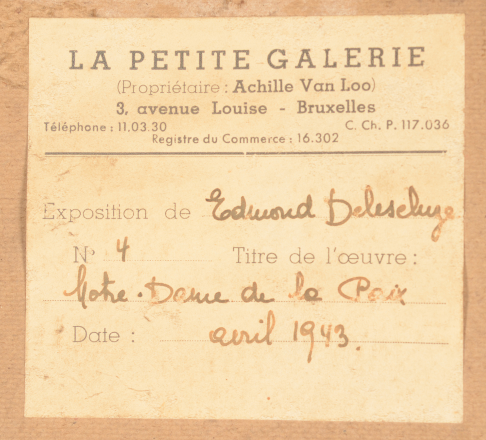 Edmond Delescluze — Exhibition label at the back of the painting