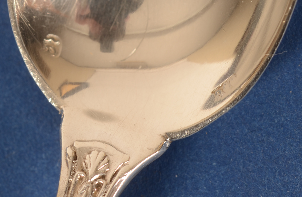 Delheid Freres — Makers mark and alloy mark on the inside of the spoon