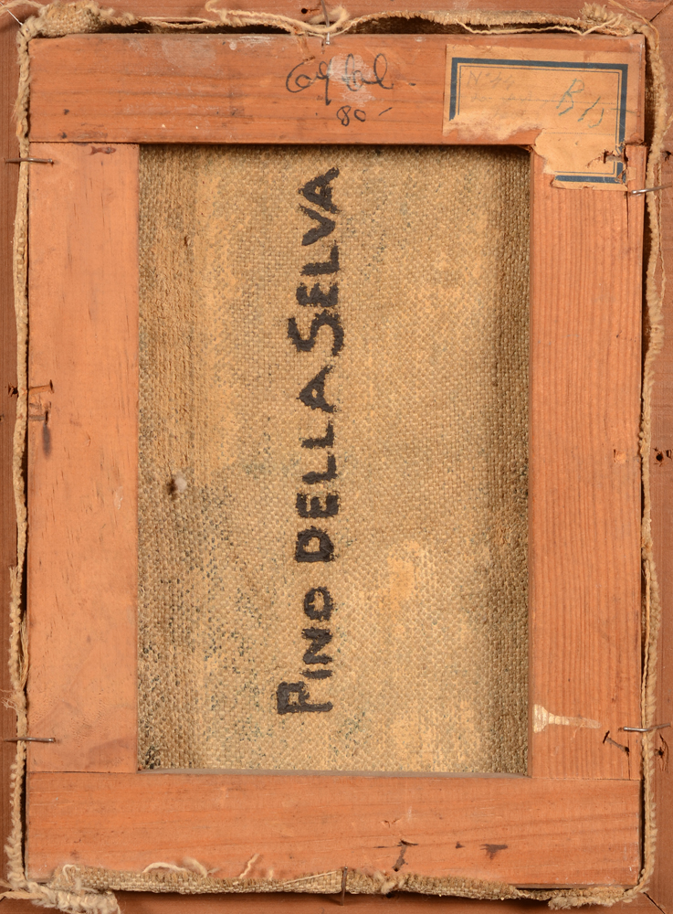 Pino della Selva — Back of the painting with full signature by the artist