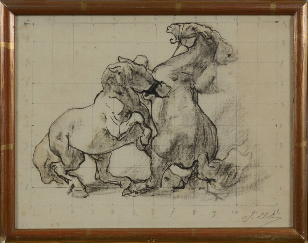 Jean Delvin — fighting horses, a small but important preparatory study