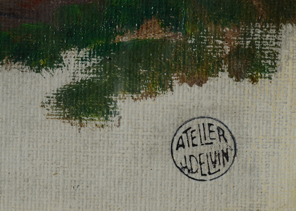 Jean Delvin — Detail of the workshop or atelier stamp.
