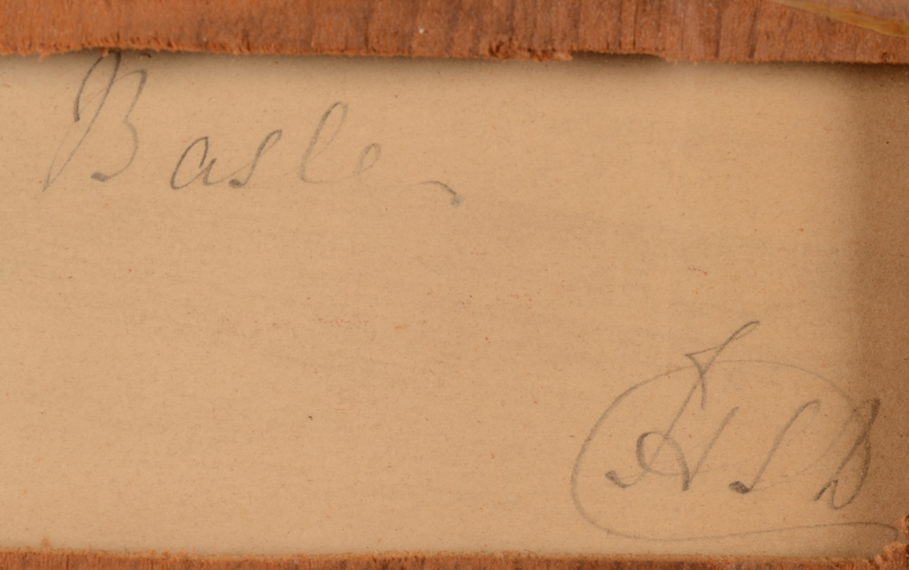 Jean-Louis Demarne — Detail of the title and monogram of the artist at the back