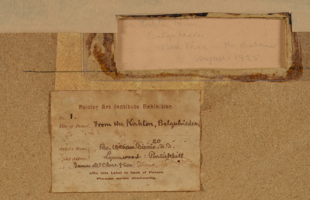 William Dickie — Back of the painting with enscribed title and date by the artist and Paisley Art Institute exhibition label.