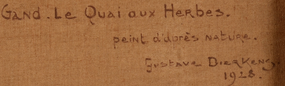 Gustave Dierkens — Title, date and signature of the artist at the back