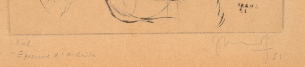 Frans Dille — Title and signature in pencil, also signature 'Frans' in the plate