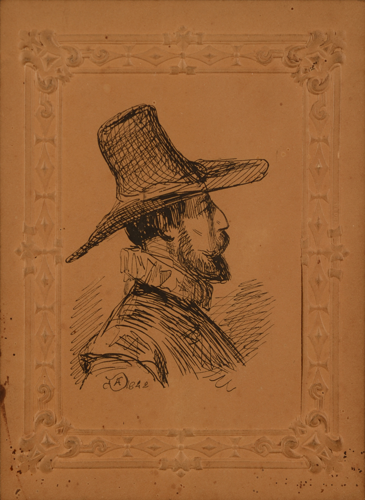 Adolphe Dillens Profile of man with hat — profile d'homme en tenue 17ème en encre
