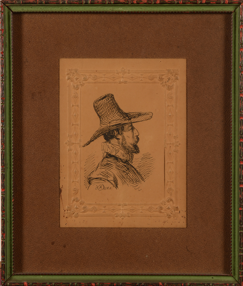 Adolphe Dillens profile d'homme — Man in 17th century costume, with frame