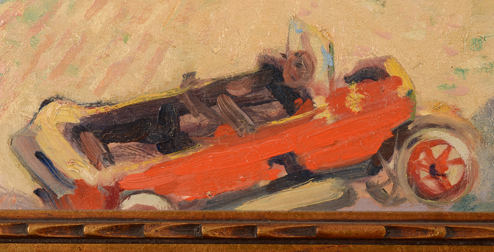 August Drume — Detail of the oldtimer in the landscape