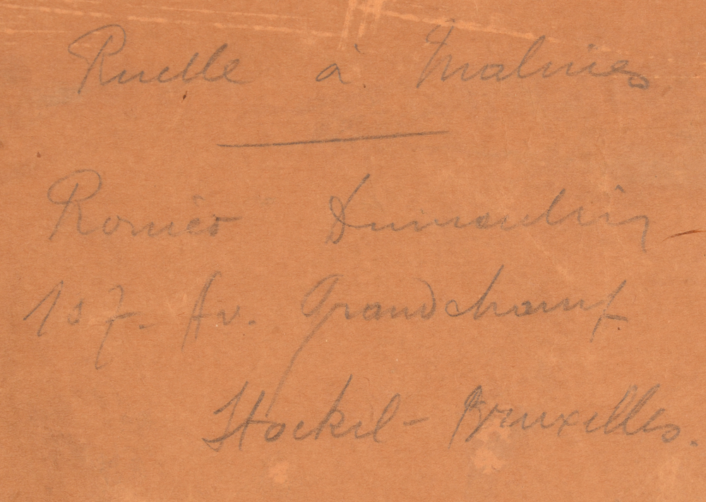 Roméo Dumoulin  — Detail of the title written in pencil at the back