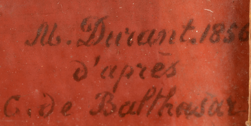 Marie Gallois-Durant — Signature of the artist and date, bottom right. With inscription. Note that sometimes the painter is referred to as Durrand, but she signed her work with Durant