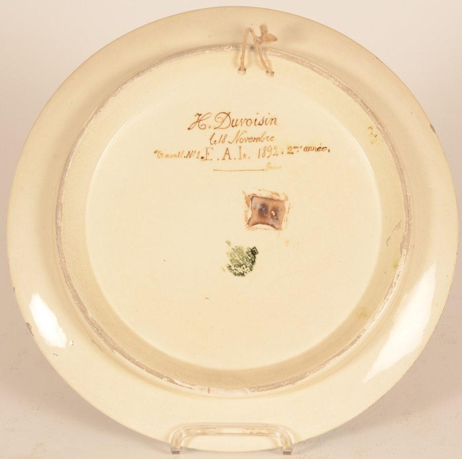 Henri Duvoisin art nouveau dish — Back of the dish, producers mark of the dish illedgible