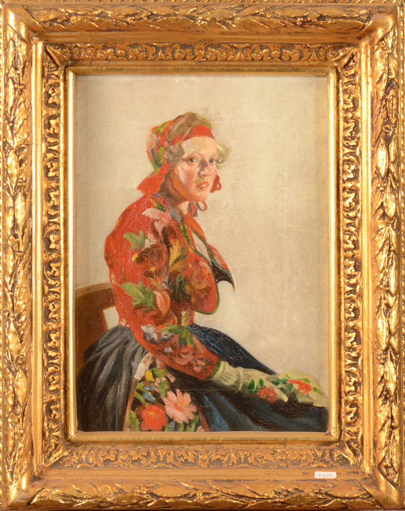Unknown 19th century artist, Polish girl in traditional dress — oil on canvas in its original frame