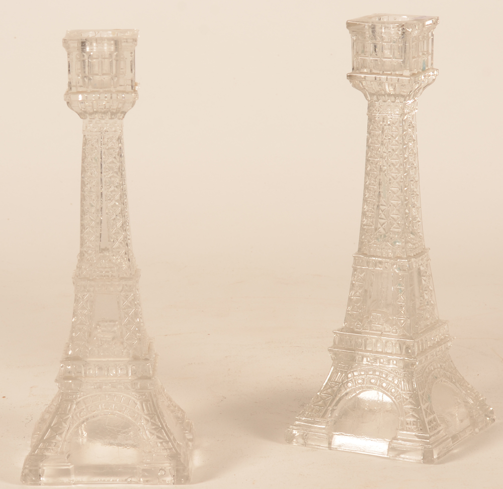 Eiffel tower candlesticks — Possibly made as a souvenir for the 1889 exhibition?