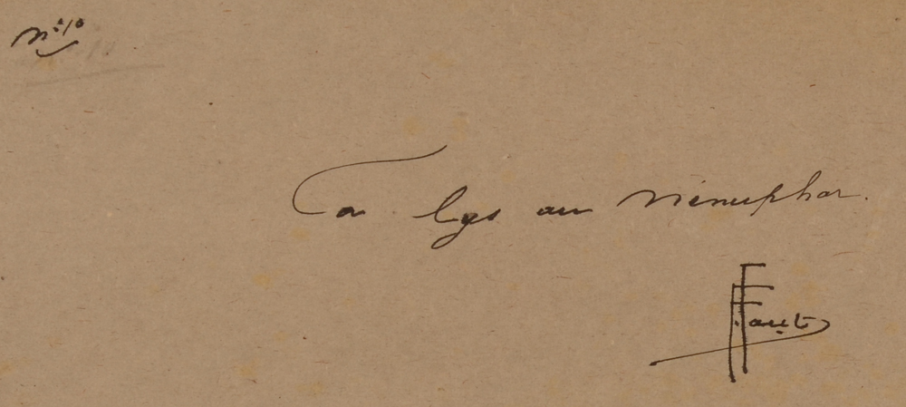 Ernest Faut — Back of the drawing with signature of the artist and title in ink.