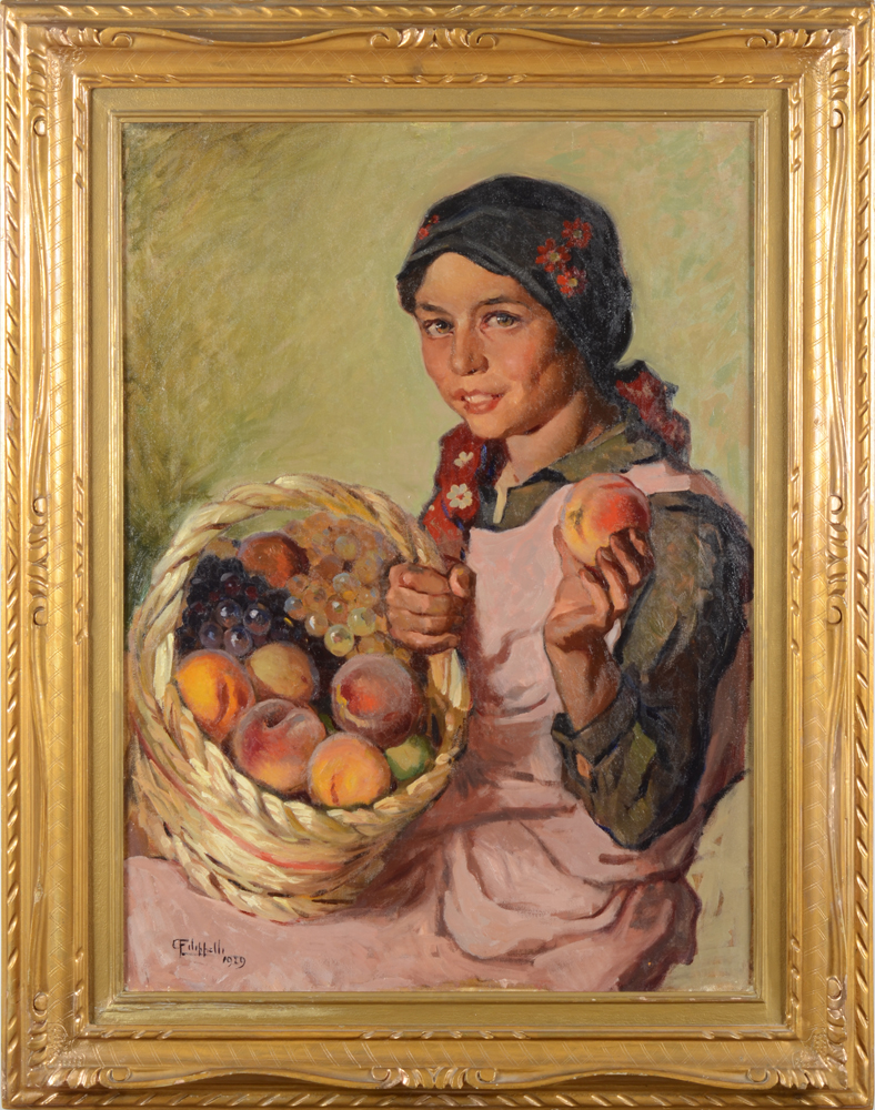 Cafiero Filippelli — The young fruitseller, oil on canvas, 1929.