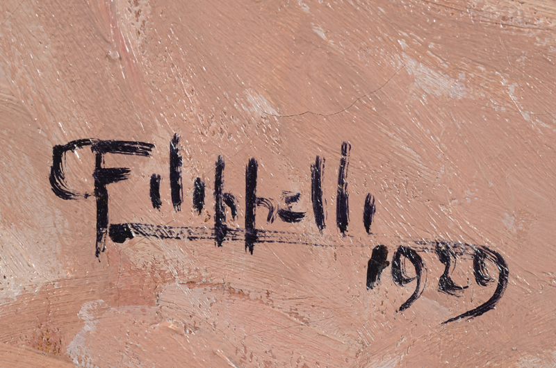 Cafiero Filippelli — Signature and date of the work, bottom left.