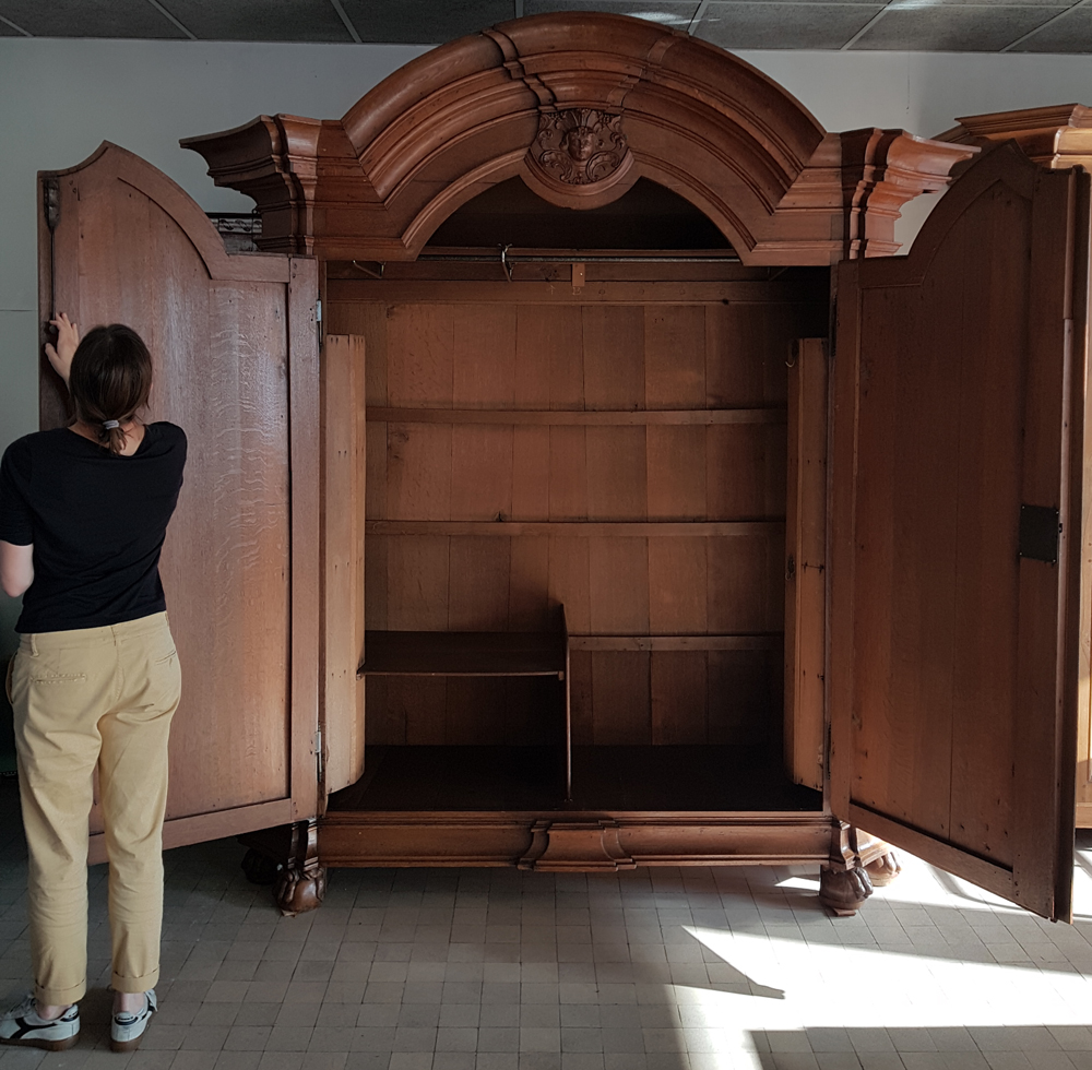 Flemish regence armoire — The armoire open<br>