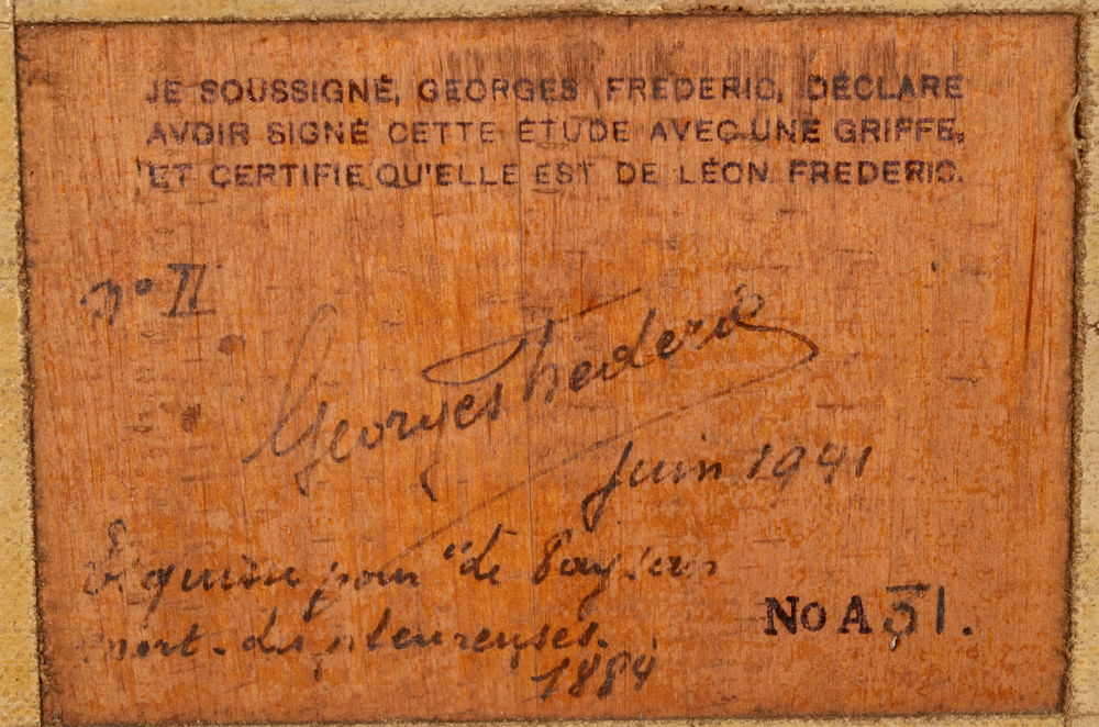 Léon Frédéric — Detail of the certificate at the back