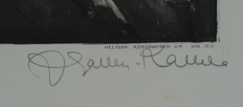 Akseli Gallen-Kallela — Signature of the artist in pencil, bottom right