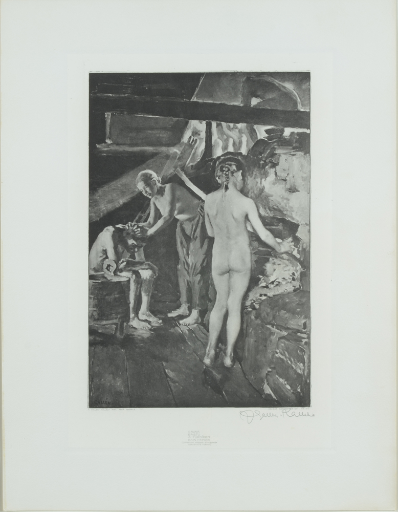 Akseli Gallen-Kallela — Sauna, an original heliographic print, signed by the artist in pencil
