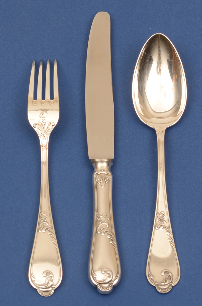 Auerhahn silver cutlery set — Large fork (showing back side), knife and spoon, all for twelve settings