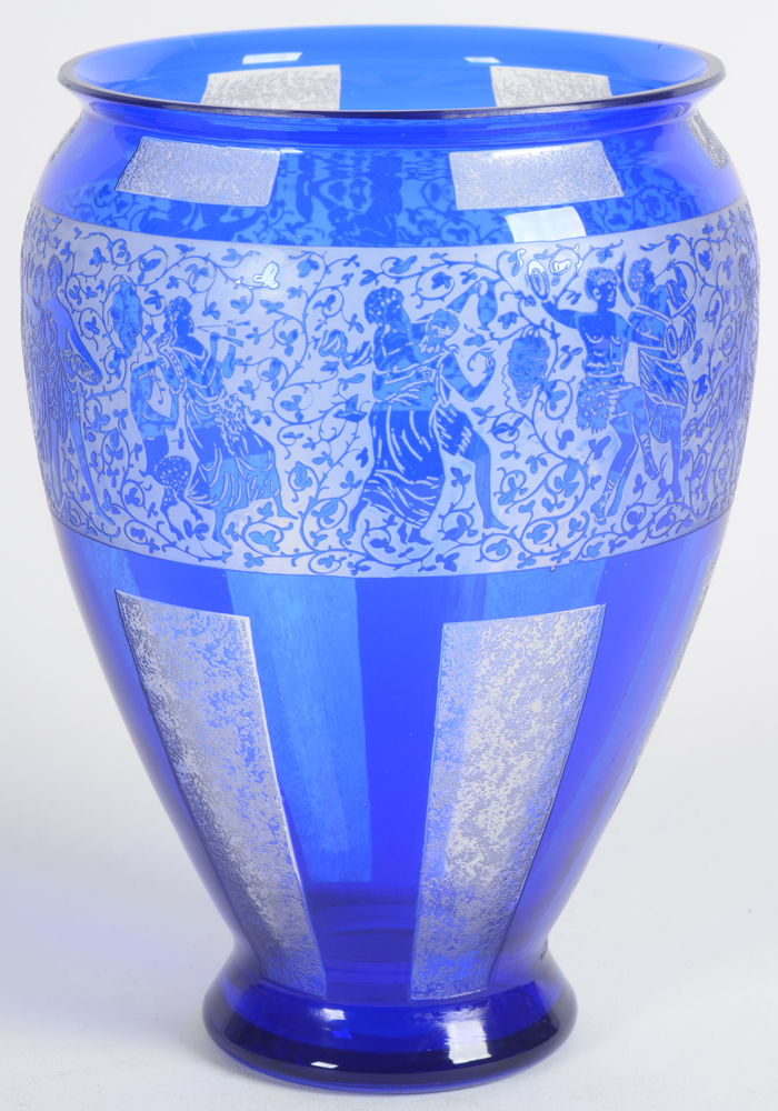 Glass vase with dancing figures